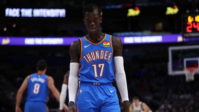 DALLAS, TEXAS - OCTOBER 14: Dennis Schroder #17 of the Oklahoma City Thunder during a preseason game at American Airlines Center on October 14, 2019 in Dallas, Texas.