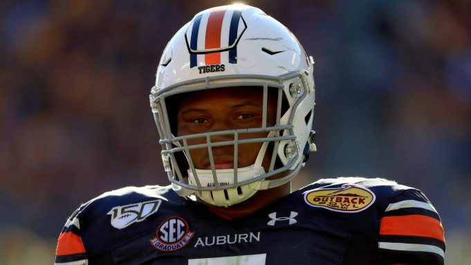 TAMPA, FLORIDA - JANUARY 01: Derrick Brown #5 of the Auburn Tigers looks on during the 2020 Outback Bowl against the Minnesota Golden Gophers at Raymond James Stadium on January 01, 2020 in Tampa, Florida.