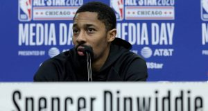 CHICAGO, ILLINOIS - FEBRUARY 15: Spencer Dinwiddie of the Brooklyn Nets speaks to the media during 2020 NBA All-Star - Practice & Media Day at Wintrust Arena on February 15, 2020 in Chicago, Illinois.