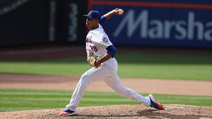 NEW YORK, NEW YORK - AUGUST 11: Edwin Diaz #39 of the New York Mets pitches against the Washington Nationals during their game at Citi Field on August 11, 2019 in New York City.