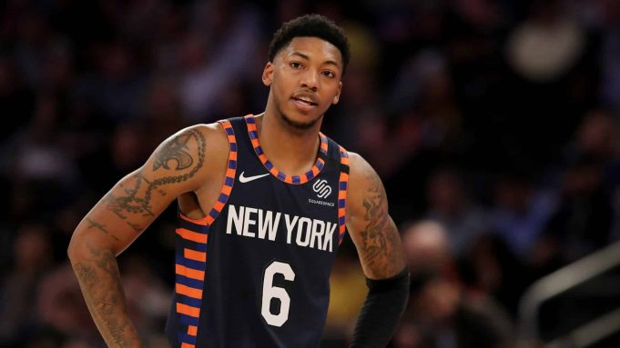 NEW YORK, NEW YORK - JANUARY 16: Elfrid Payton #6 of the New York Knicks reacts to a call in the second half against the Phoenix Suns at Madison Square Garden on January 16, 2020 in New York City.The Phoenix Suns defeated the New York Knicks 121-98.NOTE TO USER: User expressly acknowledges and agrees that, by downloading and or using this photograph, User is consenting to the terms and conditions of the Getty Images License Agreement.