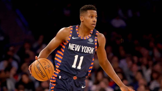 NEW YORK, NEW YORK - JANUARY 16: Frank Ntilikina #11 of the New York Knicks takes the ball in the second quarter against the Phoenix Suns at Madison Square Garden on January 16, 2020 in New York City.NOTE TO USER: User expressly acknowledges and agrees that, by downloading and or using this photograph, User is consenting to the terms and conditions of the Getty Images License Agreement.