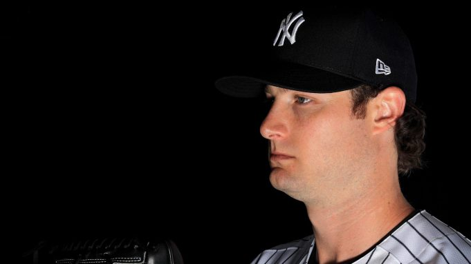 TAMPA, FLORIDA - FEBRUARY 20: Gerrit Cole #45 of the New York Yankees poses for a portrait during photo day on February 20, 2020 in Tampa, Florida.
