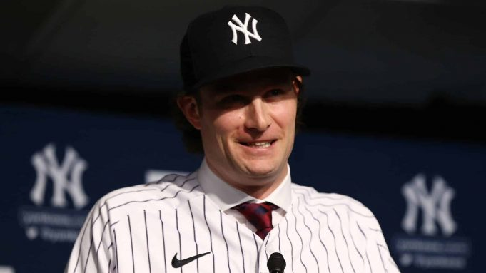 NEW YORK, NEW YORK - DECEMBER 18: Gerrit Cole speaks to the media at Yankee Stadium during a press conference at Yankee Stadium on December 18, 2019 in New York City.