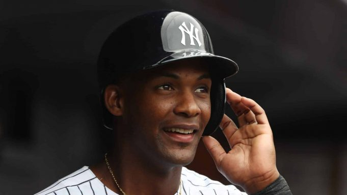 NEW YORK, NY - JULY 21: Miguel Andujar #41 of the New York Yankees celebrates scoring a run in the fourth inning against the New York Mets during their game at Yankee Stadium on July 21, 2018 in New York City.