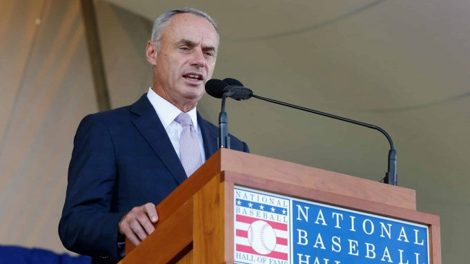 COOPERSTOWN, NY - JULY 29: MLB commissioner Rob Manfred speaks at Clark Sports Center during the Baseball Hall of Fame induction ceremony on July 29, 2018 in Cooperstown, New York.