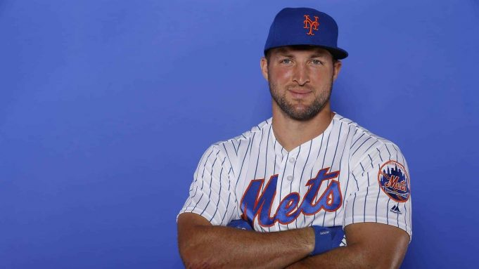 PORT ST. LUCIE, FLORIDA - FEBRUARY 21: Tim Tebow #15 of the New York Mets poses for a photo on Photo Day at First Data Field on February 21, 2019 in Port St. Lucie, Florida.