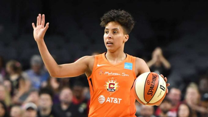 LAS VEGAS, NEVADA - JUNE 02: Layshia Clarendon #23 of the Connecticut Sun sets up a play against the Las Vegas Aces during their game at the Mandalay Bay Events Center on June 2, 2019 in Las Vegas, Nevada. The Sun defeated the Aces 80-74. NOTE TO USER: User expressly acknowledges and agrees that, by downloading and or using this photograph, User is consenting to the terms and conditions of the Getty Images License Agreement.