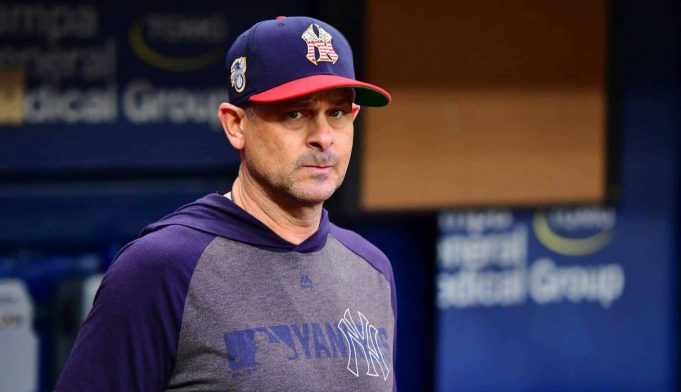 ST. PETERSBURG, FLORIDA - JULY 07: Aaron Boone #17 of the New York Yankees looks on before a baseball game against the Tampa Bay Rays at Tropicana Field on July 07, 2019 in St. Petersburg, Florida.