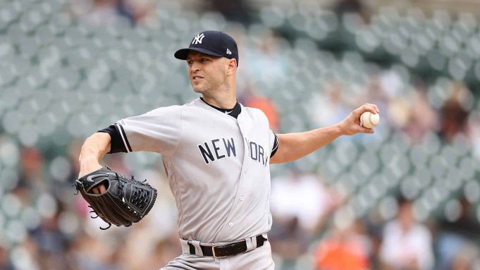 DETROIT, MI - SEPTEMBER 12: J.A. Happ #34 of the New York Yankees pitches during the first inning of the game against the Detroit Tigers in game one of a double header at Comerica Park on September 12, 2019 in Detroit, Michigan.