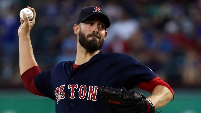ARLINGTON, TEXAS - SEPTEMBER 25: Rick Porcello #22 of the Boston Red Sox throws against the Texas Rangers in the first inning at Globe Life Park in Arlington on September 25, 2019 in Arlington, Texas.