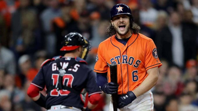HOUSTON, TEXAS - OCTOBER 30: Jake Marisnick #6 of the Houston Astros reacts after striking out against the Washington Nationals during the eighth inning in Game Seven of the 2019 World Series at Minute Maid Park on October 30, 2019 in Houston, Texas.