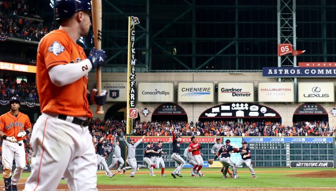 HOUSTON, TEXAS - OCTOBER 30: The Washington Nationals celebrate after defeating the Houston Astros in Game Seven to win the 2019 World Series at Minute Maid Park on October 30, 2019 in Houston, Texas. The Washington Nationals defeated the Houston Astros with a score of 6 to 2.