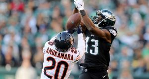 PHILADELPHIA, PENNSYLVANIA - NOVEMBER 03: Prince Amukamara #20 of the Chicago Bears breaks up a pass intended for Nelson Agholor #13 of the Philadelphia Eagles at Lincoln Financial Field on November 03, 2019 in Philadelphia, Pennsylvania.The Philadelphia Eagles defeated the Chicago Bears 22-14.