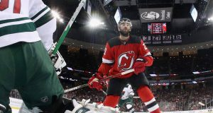 NEWARK, NEW JERSEY - NOVEMBER 26: Kyle Palmieri #21 of the New Jersey Devils skates against the Minnesota Wild at the Prudential Center on November 26, 2019 in Newark, New Jersey.