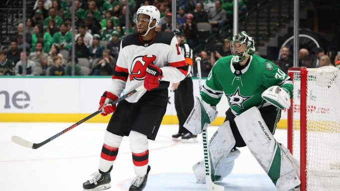 DALLAS, TEXAS - DECEMBER 10: Wayne Simmonds #17 of the New Jersey Devils and Ben Bishop #30 of the Dallas Stars in the second period at American Airlines Center on December 10, 2019 in Dallas, Texas.
