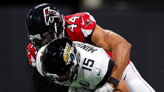 ATLANTA, GEORGIA - DECEMBER 22: Vic Beasley Jr. #44 of the Atlanta Falcons sacks Gardner Minshew II #15 of the Jacksonville Jaguars in the first half at Mercedes-Benz Stadium on December 22, 2019 in Atlanta, Georgia.