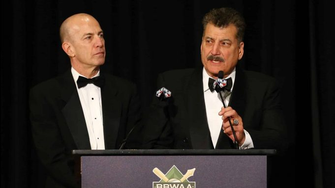 NEW YORK, NEW YORK - JANUARY 25: Gary Cohen and Keith Hernandez present Ron Darling with the Arthur and Milton Richman