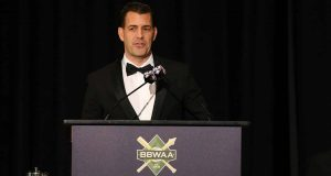 NEW YORK, NEW YORK - JANUARY 25: General Manager Brodie Van Wagenen of the New York Mets speaks during the 97th annual New York Baseball Writers' Dinner on January 25, 2020 Sheraton New York in New York City.