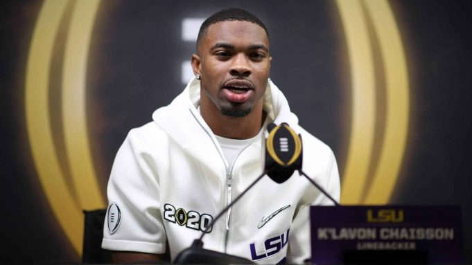 NEW ORLEANS, LOUISIANA - JANUARY 11: K'Lavon Chaisson #18 of the LSU Tigers attends media day for the College Football Playoff National Championship on January 11, 2020 in New Orleans, Louisiana.
