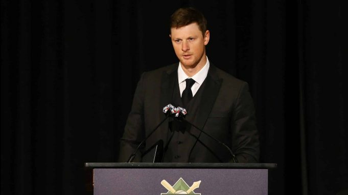 NEW YORK, NEW YORK - JANUARY 25: DJ LeMahieu of the New York Yankees speaks after receiving the Sid Mercer-Dick Young