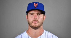 PORT ST. LUCIE, FLORIDA - FEBRUARY 20: Pete Alonso #20 of the New York Mets poses for a photo during Photo Day at Clover Park on February 20, 2020 in Port St. Lucie, Florida.