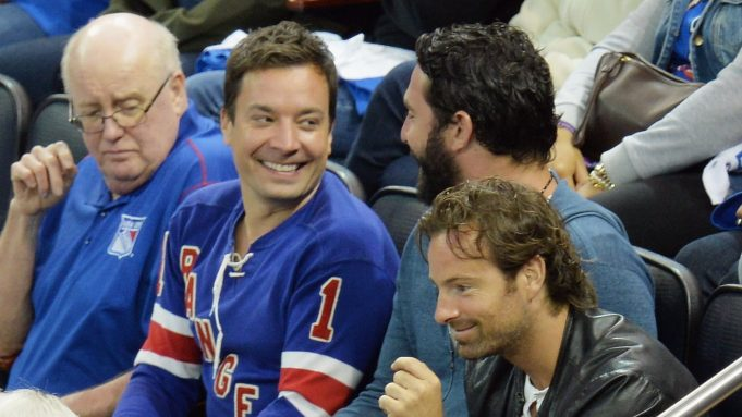 NEW YORK, NY - JUNE 09: Television host and comedian Jimmy Fallon (2nd from L) and professional baseball player Matt Harvey attends game 3 of the 2014 NHL Stanley Cup Final at Madison Square Garden on June 9, 2014 in New York City.