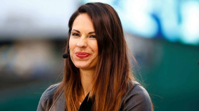 KANSAS CITY, MO - OCTOBER 26: Jessica Mendoza of ESPN speaks on set the day before Game 1 of the 2015 World Series between the Royals and Mets at Kauffman Stadium on October 26, 2015 in Kansas City, Missouri.