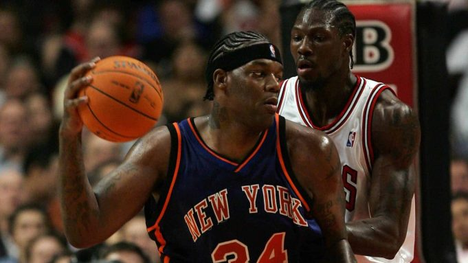 CHICAGO - NOVEMBER 28: Eddy Curry #34 of the New York Knicks looks to move the ball in the post against Ben Wallace #3 of the Chicago Bulls November 28, 2006 at the United Center in Chicago, Illinois. The Bulls won 102-85.