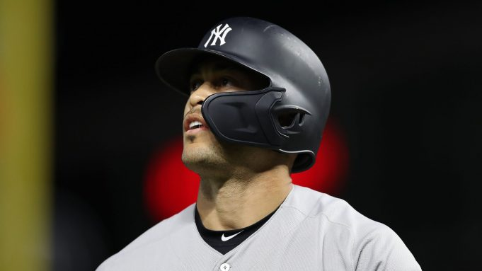 MINNEAPOLIS, MINNESOTA - OCTOBER 07: Giancarlo Stanton #27 of the New York Yankees reacts after striking out against the Minnesota Twins in the second inning of game three of the American League Division Series at Target Field on October 07, 2019 in Minneapolis, Minnesota.