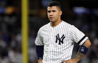 NEW YORK, NEW YORK - OCTOBER 15: Gleyber Torres #25 of the New York Yankees reacts during the fifth inning against the Houston Astros in game three of the American League Championship Series at Yankee Stadium on October 15, 2019 in New York City.