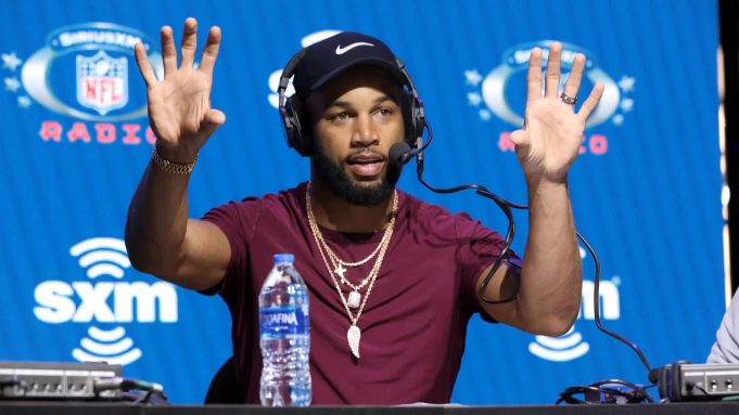 MIAMI, FLORIDA - JANUARY 31: NFL wide receiver Golden Tate of the New York Giants speaks onstage during day 3 of SiriusXM at Super Bowl LIV on January 31, 2020 in Miami, Florida.