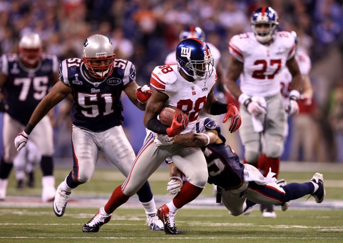 INDIANAPOLIS, IN - FEBRUARY 05: Hakeem Nicks #88 of the New York Giants runs the ball against the New England Patriots during Super Bowl XLVI at Lucas Oil Stadium on February 5, 2012 in Indianapolis, Indiana.