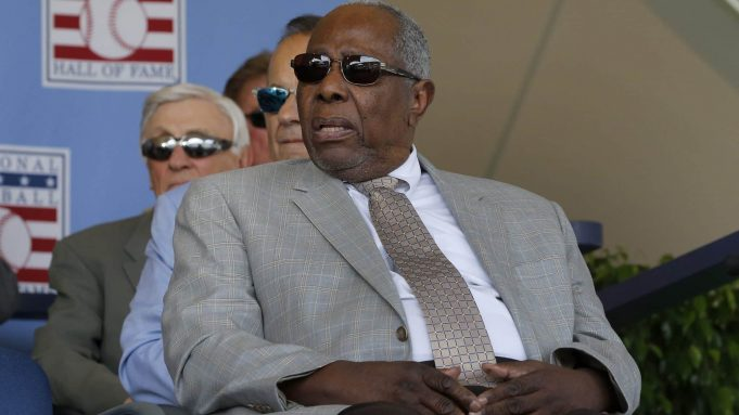 COOPERSTOWN, NEW YORK - JULY 21: Baseball icon Hank Aaron looks on during the Baseball Hall of Fame induction ceremony at Clark Sports Center on July 21, 2019 in Cooperstown, New York.