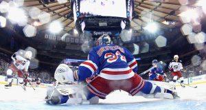 NEW YORK, NEW YORK - JANUARY 19: Igor Shesterkin #31 of the New York Rangers tends net against the Columbus Blue Jackets at Madison Square Garden on January 19, 2020 in New York City. The Blue Jackets defeated the Rangers 2-1.