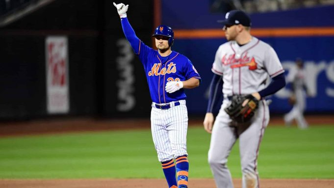 NEW YORK, NEW YORK - SEPTEMBER 27: J.D. Davis #28 of the New York Mets celebrates a double in the first inning of their game against the Atlanta Braves at Citi Field on September 27, 2019 in the Flushing neighborhood of the Queens borough of New York City.