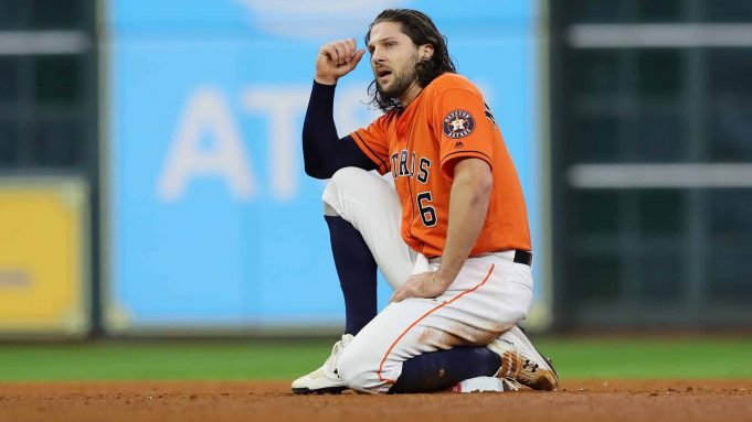 HOUSTON, TEXAS - OCTOBER 30: Jake Marisnick #6 of the Houston Astros reacts after being thrown out in a double play against the Washington Nationals during the sixth inning in Game Seven of the 2019 World Series at Minute Maid Park on October 30, 2019 in Houston, Texas.