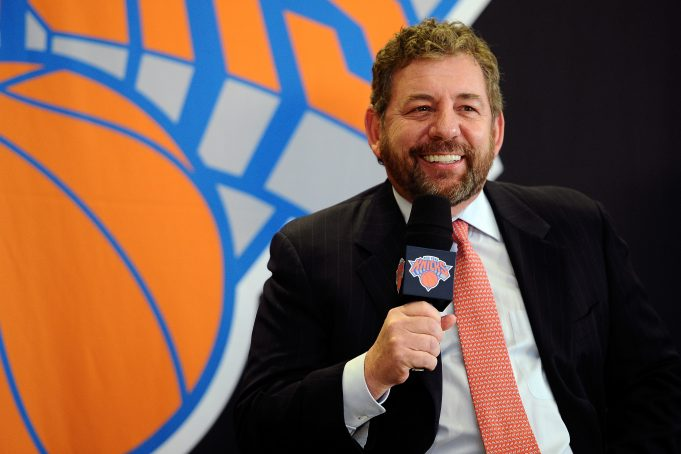 NEW YORK, NY - MARCH 18: James Dolan, Executive Chairman of Madison Square Garden, answers questions during the press conference to introduce Phil Jackson as President of the New York Knicks at Madison Square Garden on March 18, 2014 in New York City.