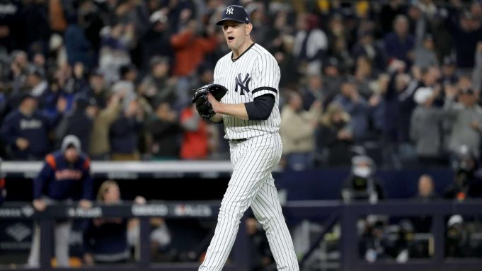 NEW YORK, NEW YORK - OCTOBER 18: James Paxton #65 of the New York Yankees reacts after retiring the Houston Astros during the eighth inning in game five of the American League Championship Series at Yankee Stadium on October 18, 2019 in New York City.