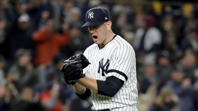 NEW YORK, NEW YORK - OCTOBER 18: James Paxton #65 of the New York Yankees reacts after retiring the Houston Astros during the sixth inning in game five of the American League Championship Series at Yankee Stadium on October 18, 2019 in New York City.