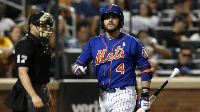 NEW YORK, NEW YORK - SEPTEMBER 07: Pinch hitter Jed Lowrie #4 of the New York Mets walks back to the dugout after striking out in the fourth inning against the Philadelphia Phillies at Citi Field on September 07, 2019 in New York City.