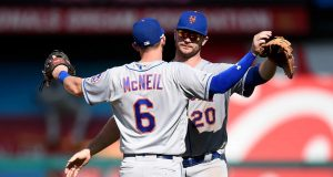 WASHINGTON, DC - SEPTEMBER 02: Jeff McNeil #6 and Pete Alonso #20 of the New York Mets celebrate a 7-3 victory against the Washington Nationals at Nationals Park on September 2, 2019 in Washington, DC.