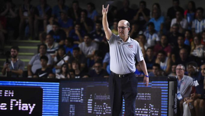 LA RIOJA, ARGENTINA - NOVEMBER 29: Jeff Van Gundy head coach of USA gestures during a match between Argentina and USA as part of FIBA Americas Qualifier for FIBA Basketball World Cup China 2019 at Superdomo on November 29, 2018 in La Rioja, Argentina.