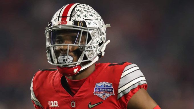GLENDALE, ARIZONA - DECEMBER 28: Cornerback Jeff Okudah #1 of the Ohio State Buckeyes during the PlayStation Fiesta Bowl against the Clemson Tigers at State Farm Stadium on December 28, 2019 in Glendale, Arizona. The Tigers defeated the Buckeyes 29-23.