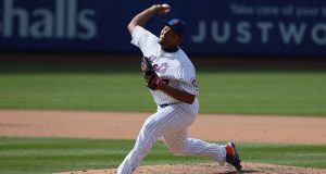 NEW YORK, NEW YORK - AUGUST 11: Jeurys Familia #27 of the New York Mets in action against the Washington Nationals during their game at Citi Field on August 11, 2019 in New York City.