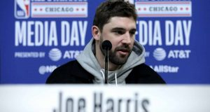 CHICAGO, ILLINOIS - FEBRUARY 15: Joe Harris of the Brooklyn Nets speaks to the media during 2020 NBA All-Star - Practice & Media Day at Wintrust Arena on February 15, 2020 in Chicago, Illinois. NOTE TO USER: User expressly acknowledges and agrees that, by downloading and or using this photograph, User is consenting to the terms and conditions of the Getty Images License Agreement.