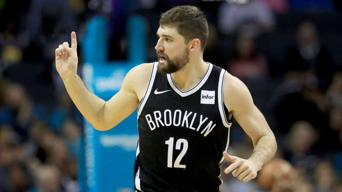 CHARLOTTE, NORTH CAROLINA - DECEMBER 06: Joe Harris #12 of the Brooklyn Nets reacts after a basket against the Charlotte Hornets during their game at Spectrum Center on December 06, 2019 in Charlotte, North Carolina.