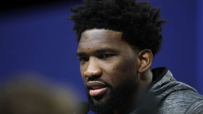 CHICAGO, ILLINOIS - FEBRUARY 15: Joel Embiid of the Philadelphia 76ers speaks to the media during 2020 NBA All-Star - Practice & Media Day at Wintrust Arena on February 15, 2020 in Chicago, Illinois. NOTE TO USER: User expressly acknowledges and agrees that, by downloading and or using this photograph, User is consenting to the terms and conditions of the Getty Images License Agreement.