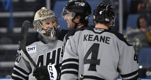 ONTARIO, CALIFORNIA - JANUARY 27: Vitek Vanecek #30 of the Atlantic Division celebrates a win over the Central Division Division in the Championship game with Matt Moulson #26 and Joey Keane #4 during the 2020 AHL All-Star Classic at Toyota Arena on January 27, 2020 in Ontario, California.