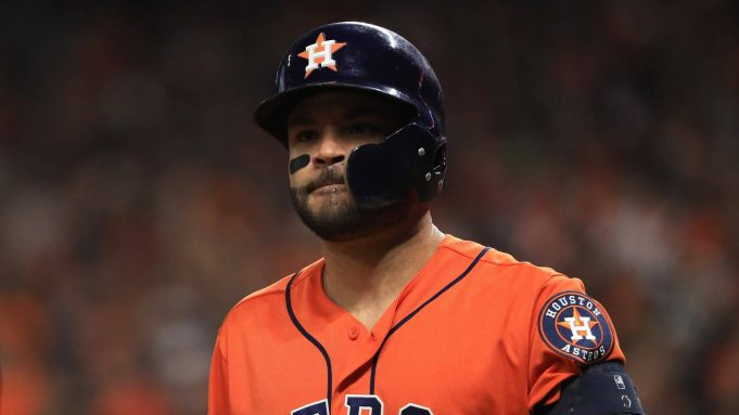 HOUSTON, TEXAS - OCTOBER 30: Jose Altuve #27 of the Houston Astros reacts after he lines out against the Washington Nationals during the fourth inning in Game Seven of the 2019 World Series at Minute Maid Park on October 30, 2019 in Houston, Texas.